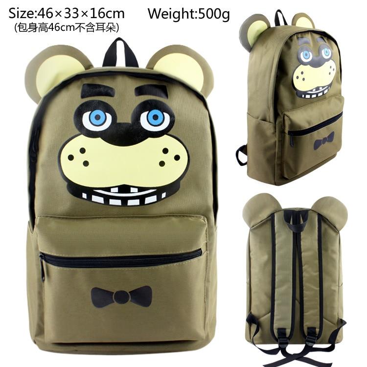 New FNAF Anime Five Nights At Freddys With Ear Backpack Bag Nylon Backpack Messenger School Rucksack Student Bag Cosplay