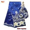 Г-н Z Мода Royal Blue Индии Джордж Ткани 2017 Высокое Качество Африки Джордж Ткань С Гипюр Handcut Блестки Джордж кружева