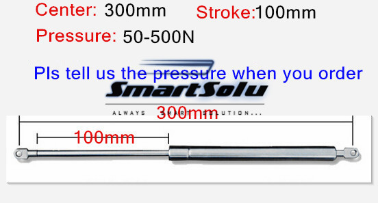 free shipping 50 to 500N force 300mm central distance 100mm stroke, stainless steel Gas Spring, Lift Prop Gas Spring Damper