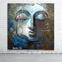 Large handpainted Buddha Painting Canvas Art Home Decor Wall Art Oil Painting Wall Buddha Picture Living Room Modern painting