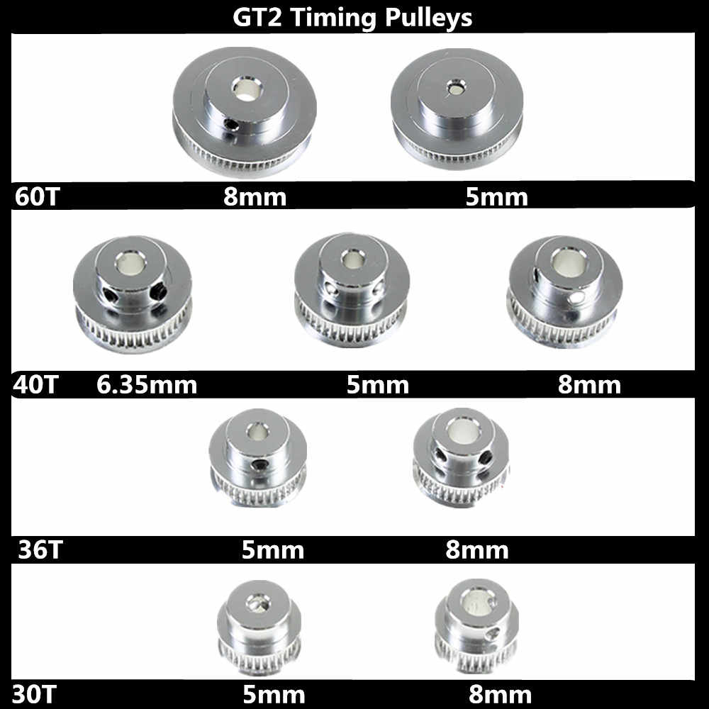 Peças de Impressora 3D GT2 Polias 30 36 40 60 Dente 2GT Peças Da Roda Furo 5 milímetros 8mm de Alumínio os Dentes da engrenagem Largura 6mm 10mm