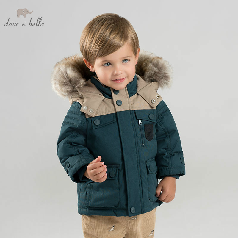 DB8690 dave bella baby boy down jacket children hooded outerwear infant toddler boutique 90% duck down padded coat with big fur
