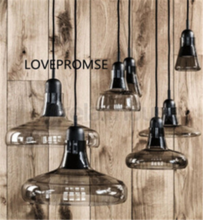 vintage glass led e27 pendant lamp smoky gray/clear hand-made pendant lamp for dining room/bar N1075 factory cheap amber smoky gray red coffee blue glass pendant lamp pendant light edison bulb bedroom dining room cafe kitchen bar