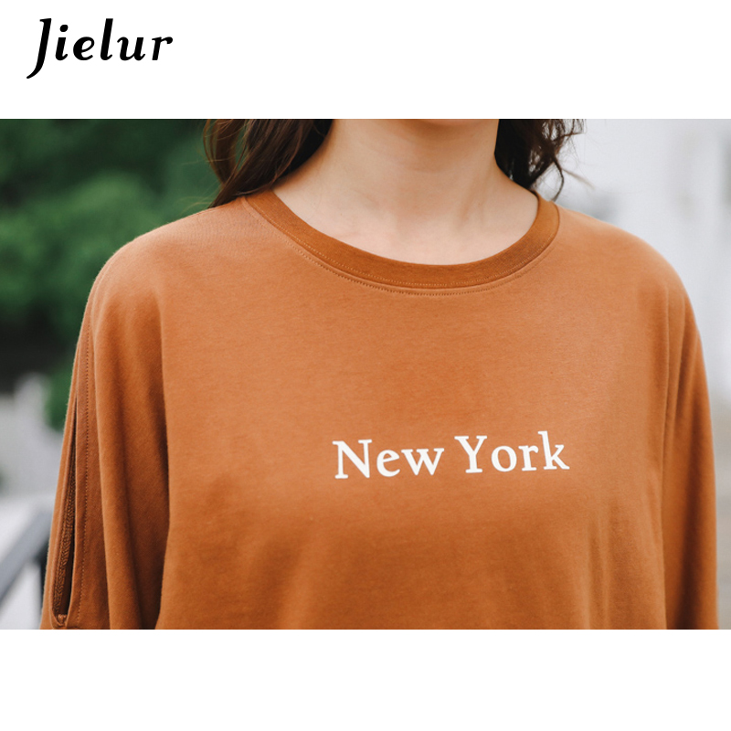 3f3fb6adf3aa77 Jielur Korean Style Hollow Khaki Top Femme Lace up New York Printed Loose T  Shirt Women Harajuku Chic Autumn Camiseta Feminina-in T-Shirts from Women s  ...