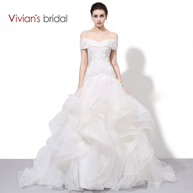 d853f49e96f Vivian s Bridal Boat Neck Off Shoulder Ruffled Mermaid Wedding Dress Lace Sequin  Bridal Wedding Gown WD450-2
