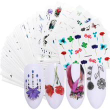 LEMOOC 45Pcs/Set Nail Art Transfer Stickers Mixed Pattern Flowers Butterfly Colorful DIY Decors Tips Water Decals