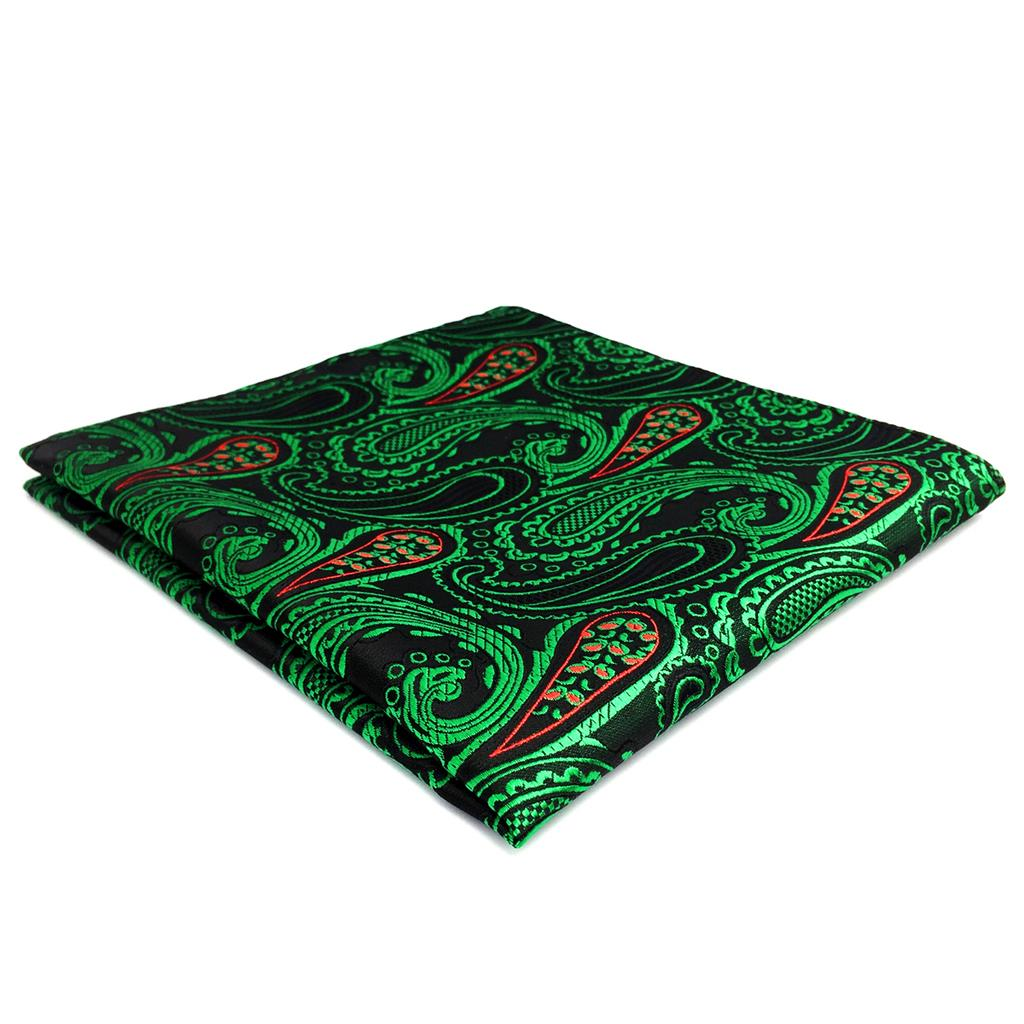 FH30 Green Red Paisley Mens Pocket Square Fashion Handkerchief Wedding Silk Hanky