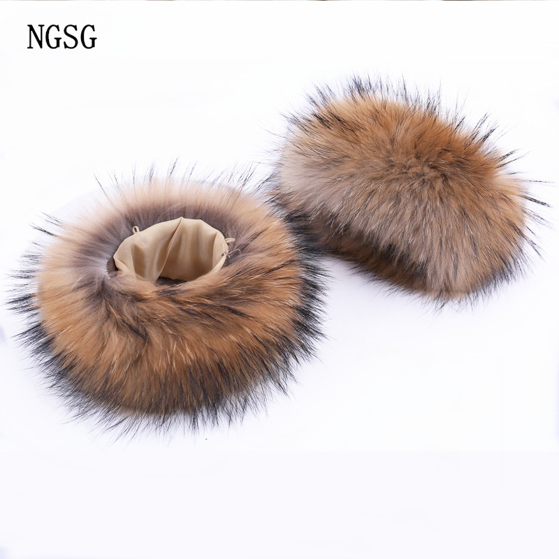 NGSG 2PCS Arm Warmer Real Raccoon Fur Women Winter Warm Hand Natural Genuine Lady Soft Animal Fur Coat Cuff Arm Warmers XK1120
