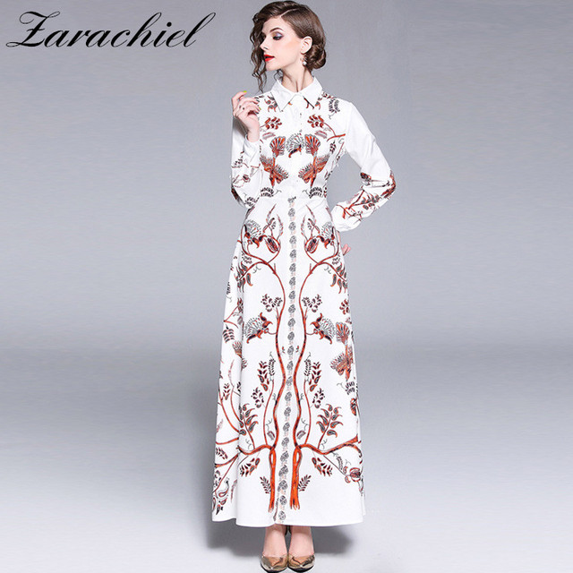 3edcaac58192 Digital Printed Vintage Runway Designer Long Dress Women 2019 Fall Long  Sleeve Flower Leaves Pattern Long Shirt Split Maxi Dress
