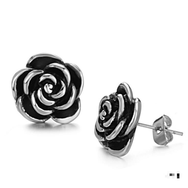 Vintage Rose Gothic Earring Black Flower 316l Stainless Steel Anti Allergy Ear Stud For Women Gift 2018 New Hot Retail In Earrings From Jewelry