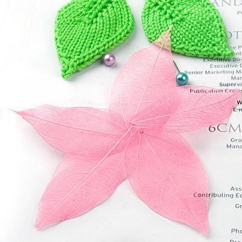 Affordable 50Pcs Natural Cat Brier Skeleton Leaf Leaves Card Scrapbook - Pink