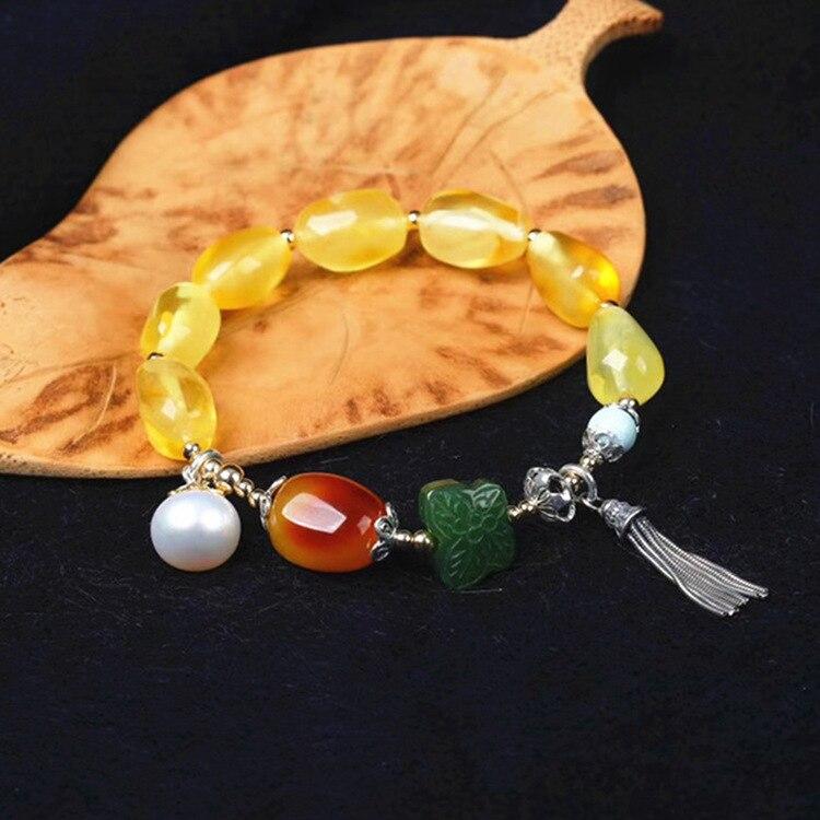 Gioielli di moda argento minerale naturale cera d'api color oro braccialetto d'argento per la donna femminile