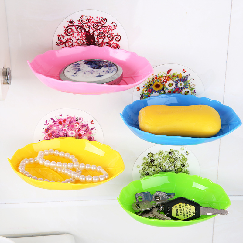 XUNZHE New Home Bathroom Accessories Soap Dish Tray Draw Sucker Holder Kitchen Tools Stand Basket / 13.5CM Leaf Type Soap Box