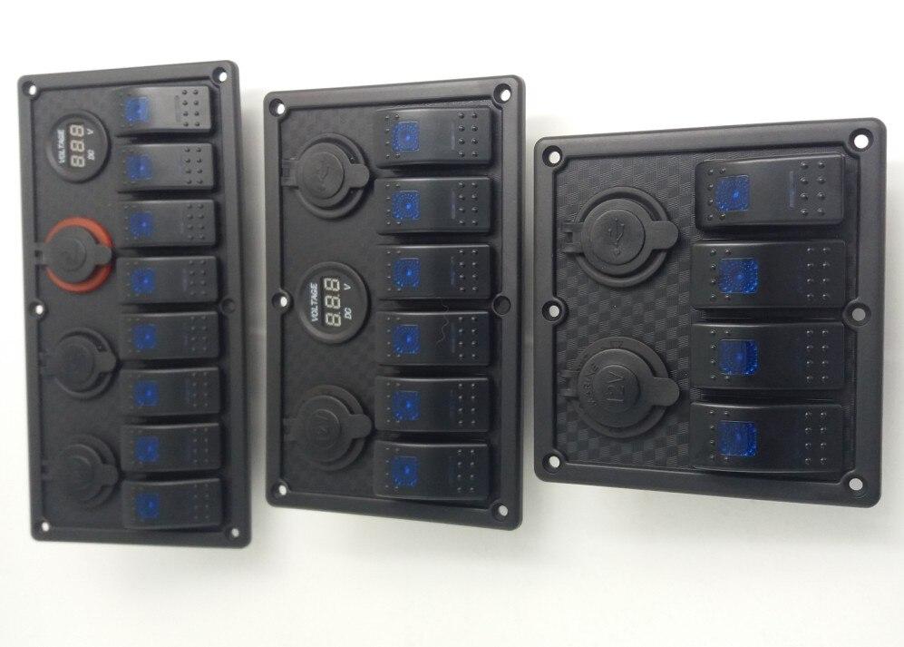 Waterproof 4 Gang Rocker Switch Panel Electrical Circuit Breaker Marine Boat LED
