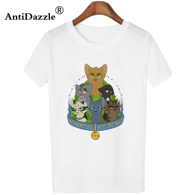 93c970ffd Antidazzle Womens Cool Cat T-shirts 2017 Summer Fashion Female Casual Tops  Women's Warrior Cats Printed Short Sleeve