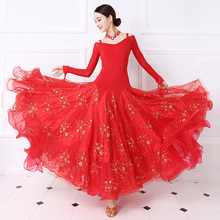 Standard Ballroom Dance Dress Women Tango Flamenco Waltz Dancing Skirt Lady's Long Sleeve Ballroom Competition Dresses