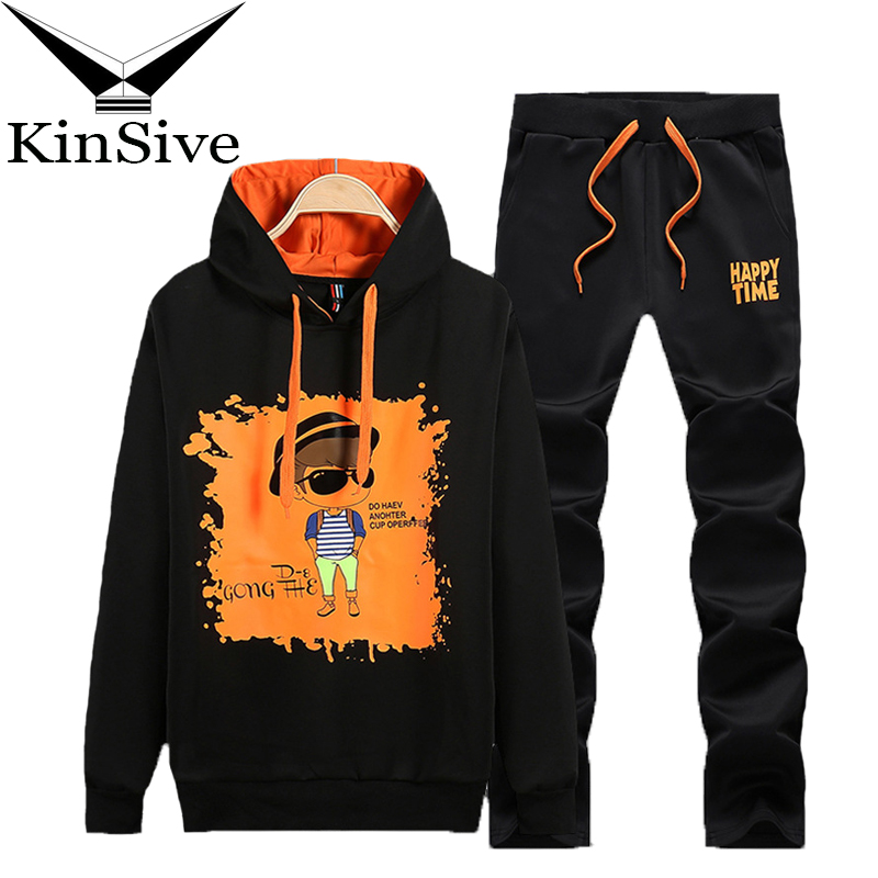 2018 New Men's Sportswear Casual Hoodies Two Piece Set Men Tracksuits Sweatshirt+Pants Print Track Suit Young Students Clothing