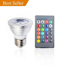 5PACK E27 3W 1X3W LED Dimmable/21Keys Remote-Controlled/Decorative RGB Spotlights lamps 16 Color Change bulb 85-220V