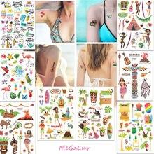 Hawaiian Beach Party Tattoo Aufkleber Hawaii Luau Wasserdicht Temporäre Tattoos Sommer Tropischen Pool Wilden Aloha Partei Liefert