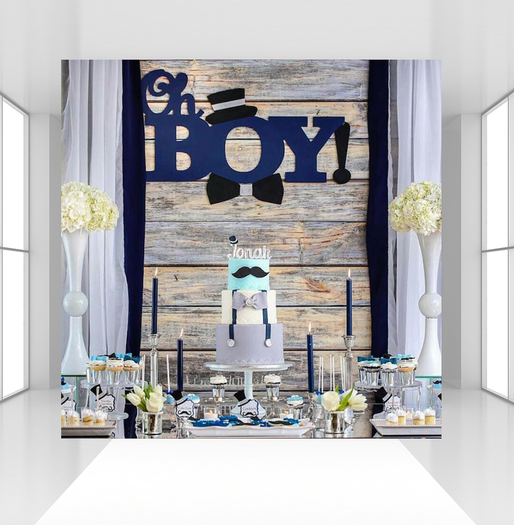 Oh <font><b>Boy</b></font> <font><b>Baby</b></font> <font><b>Shower</b></font> Photography <font><b>Backdrops</b></font> Hat Mustache Vintage Wood Custom Photography <font><b>Backdrops</b></font> Studio Shoots CZ-107 image