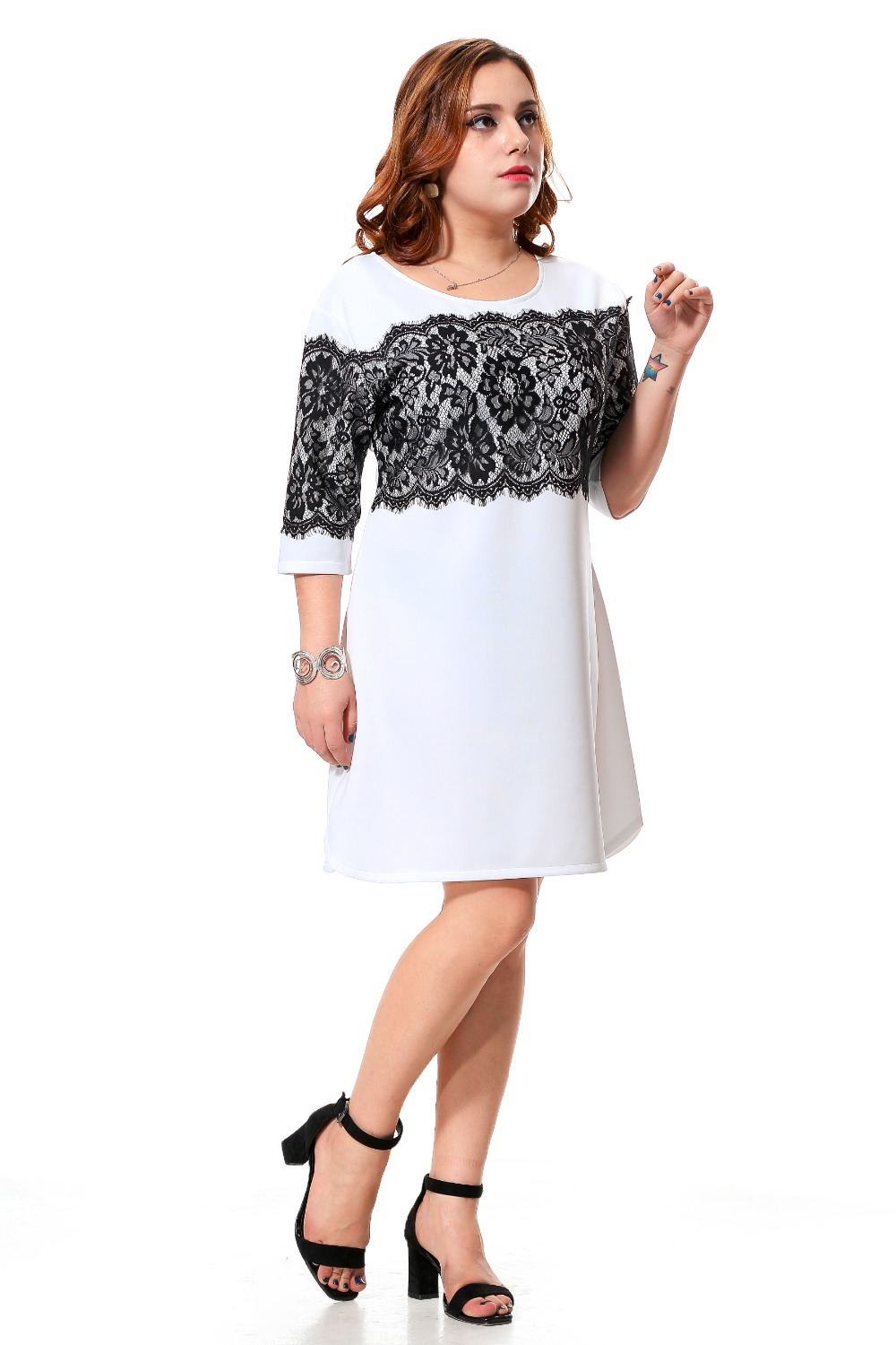 Plus size white casual dress with black lace patchwork womens half sleeve  party dress split design by side 3xl 7xl spring 13-in Underwear from Mother    Kids ... fcbf003cc947