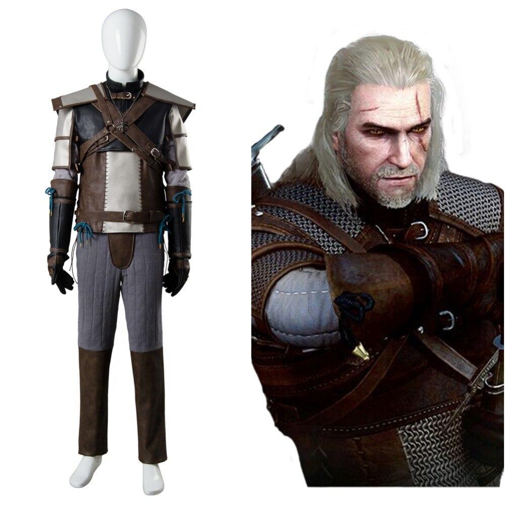 Le sorceleur 3 chasse sauvage Geralt de Rivia Costume Cosplay ensemble complet