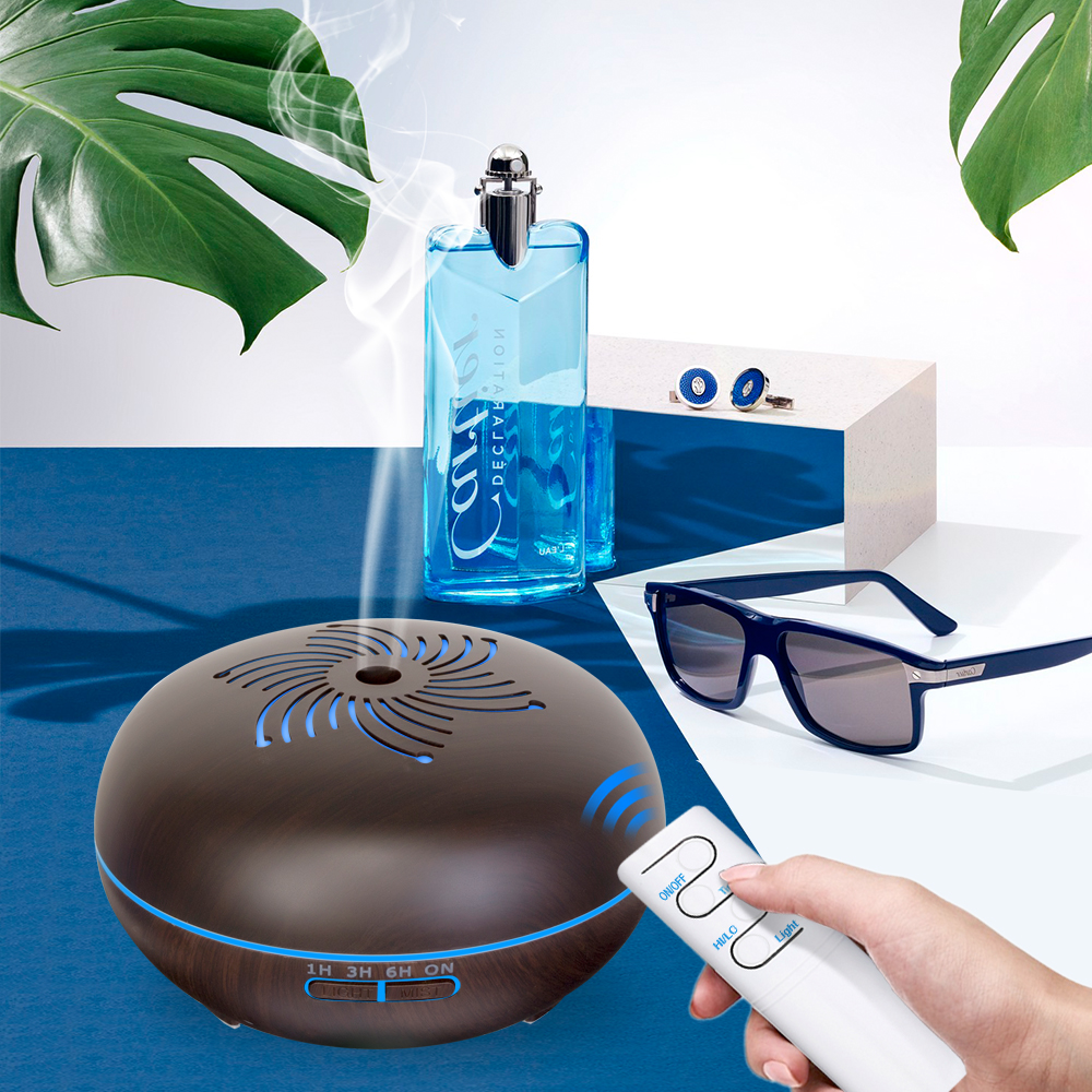 Wood Grain Remote Control Air Humidifier Ultrasonic Technology Aroma Essential Oil Diffusor With 7 Colours Changing LED