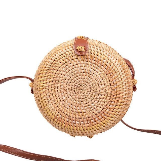 Vintage Handmade Rattan Woven Shoulder Bags PU Leather Straps Bow Hasp Holiday Beach Crossbody Bag Messengers Women Handbag 5