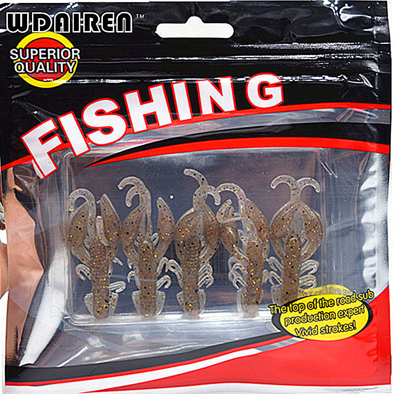 Hot Sell 5 pcs/Lot Plastice Soft Fishing Lure 50mm 2.2g floating Salt Smell Attractive Fish Crab Fishing Bait Soft Bait FA-343 trulinoya ray frog style soft plastic fishing lure bait green