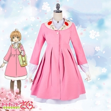 New Cardcaptor Sakura Cosplay Costume Kinomoto Pink Dress+Mint Apron Casual Clothes Halloween Costumes for Women