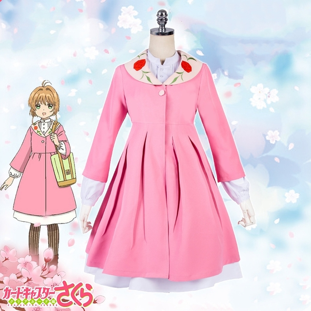 New Cardcaptor Sakura Cosplay Costume Kinomoto Sakura Cosplay Pink Dress+Mint  Apron Casual Clothes Halloween Costumes for Women 0d12ba87b745