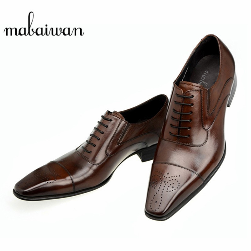 Mabaiwan 2017 High Quality Leather Dress Men Shoes Square Toe Italy Retro Style Business Wedding Formal Flat Black Shoes For Men