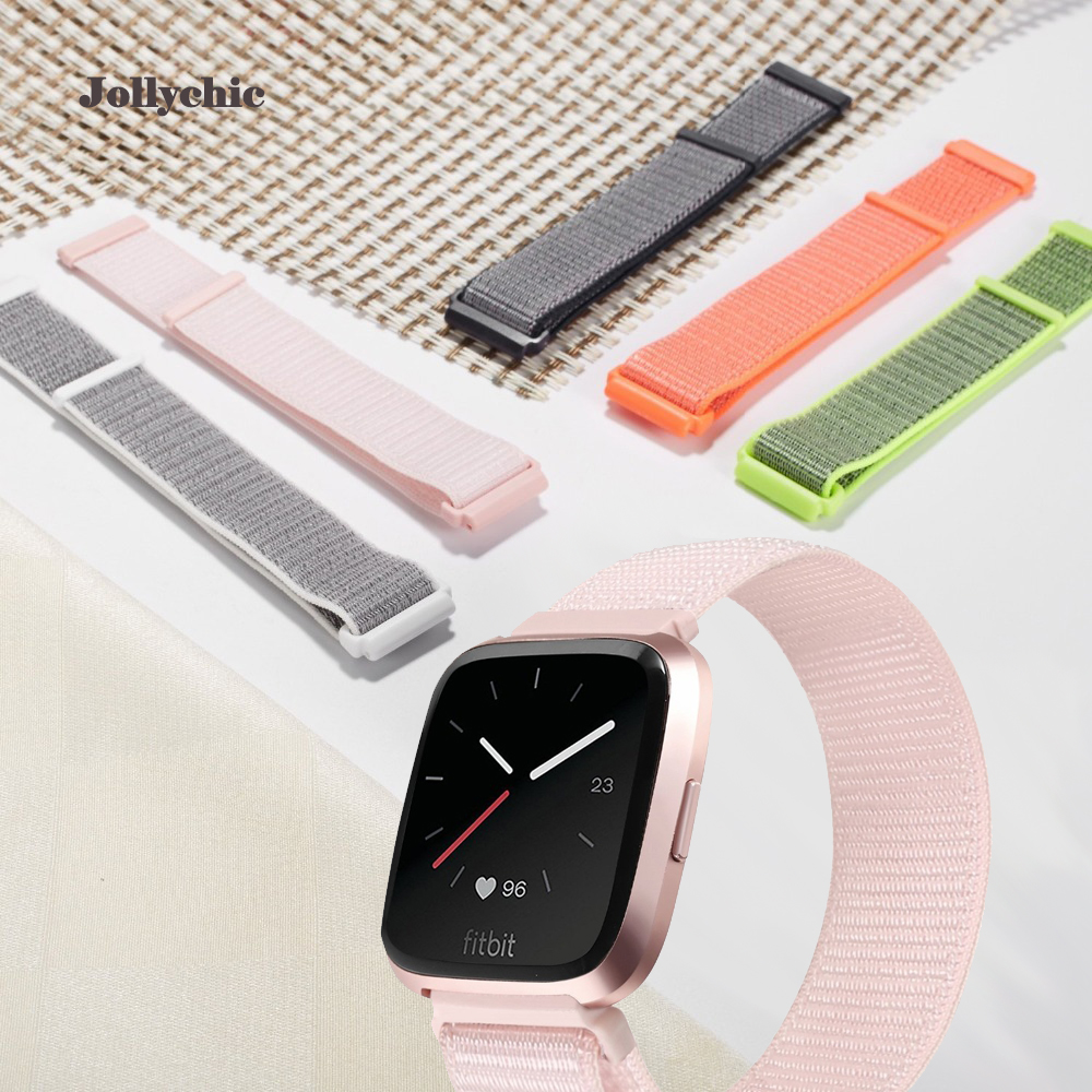 Nylon Sport Watch Band For Fitbit Versa Breathable Replacement Bracelet Strap Hook And Loop Fastener Adjustable Closure Strap