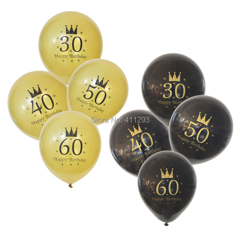 12pcs/lot  30 40 50 60 70 80 birthday party balloon gold printed ballons gold black party decorations  birthday helium balloons