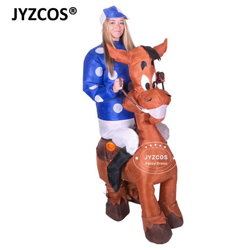 JYZCOS Inflatable Horse Costumes Blow Up Jockey Races Fancy Dress Cosplay Purim Halloween Party Hen Stag Night  Airblown Outfits