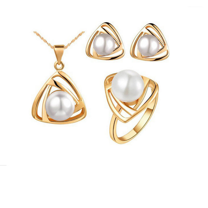 Pendant Necklace Jewelry-Sets Ring Simulated-Pearl Wedding Triangle-Design Women Fashion