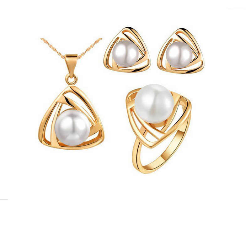 Hot Selling Fashion Simulated Pearl Jewelry Sets Triangle Design Pendant Necklace Ring Stud Earring 2017 For Women Wedding