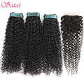 Satai Kinky Curly Human Hair 3 Bundles with Closure Free Part Natural Color Brazilian Hair Weave Bundles Non Remy Hair Extension