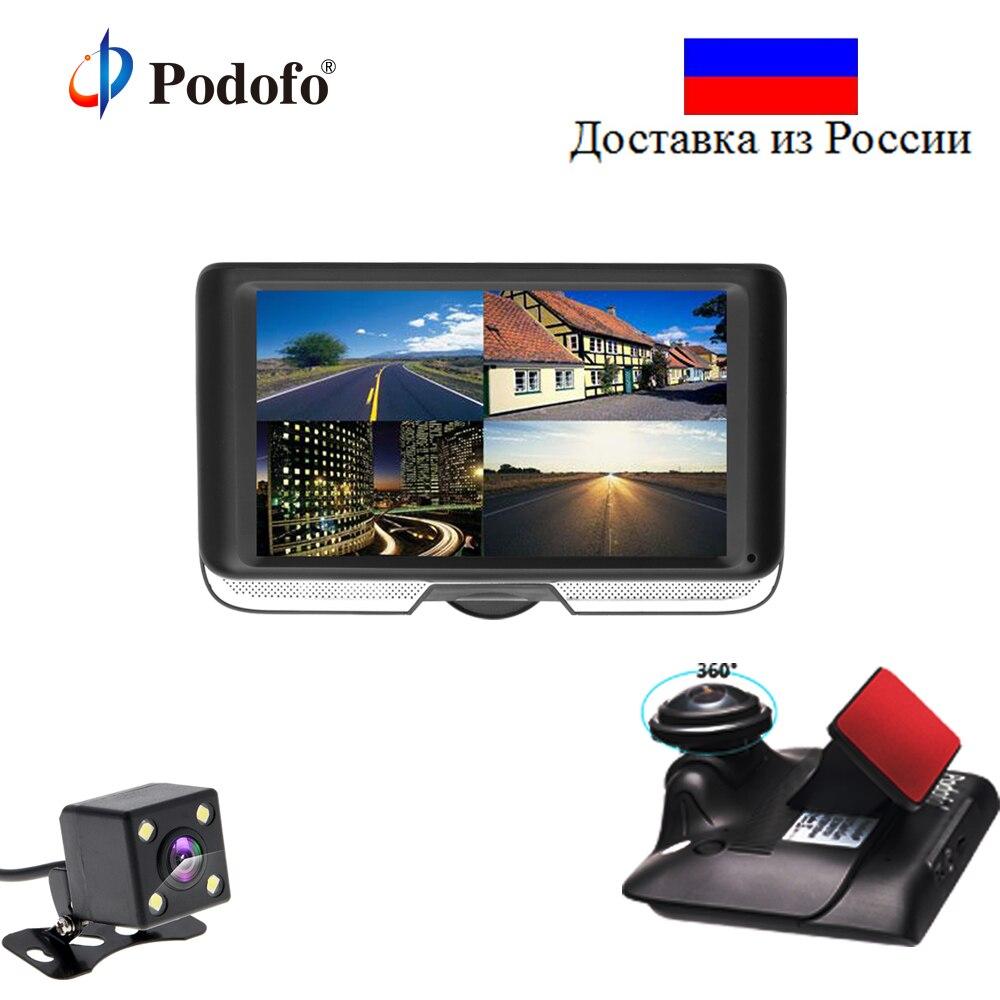Podofo Двойной объектив Видеорегистраторы для автомобилей с заднего вида регистратор камеры 4,0 ips Сенсорный экран видео Регистраторы 360 градус...