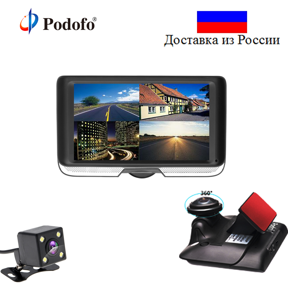 Podofo Dual Lens Car DVR with Rear View Registrar Cameras 4.0 IPS Touch Screen Video Recorder 360 Degree Panoramic Dash Cam Dvrs