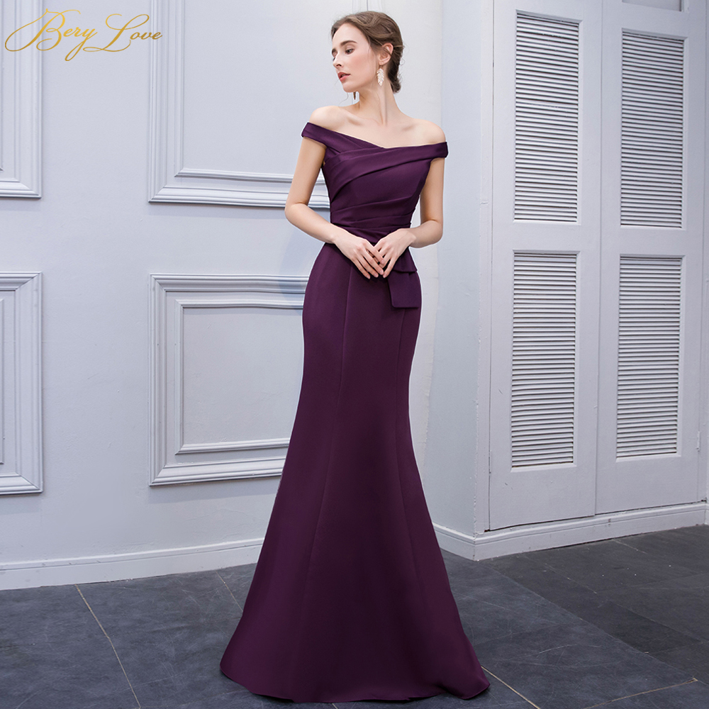 Simple Mermaid Purple Satin   Evening     Dresses   2019 Long Off Shoulder   Evening   Gowns Formal   Evening     Dress   Prom   Dress   abendkleider