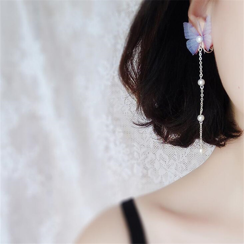 Fashion Blue Pink Ethereal Butterfly Drop Earrings For Women Silver Color Imitation Pearl Long Dangle Earring Party Jewelry Gift