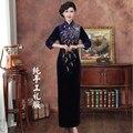 Fashion Purple Chinese Traditional Women's Handcraft Beads Long Cheongsam Top Chinese Elegant Qipao Dress Size S M L XL XXL
