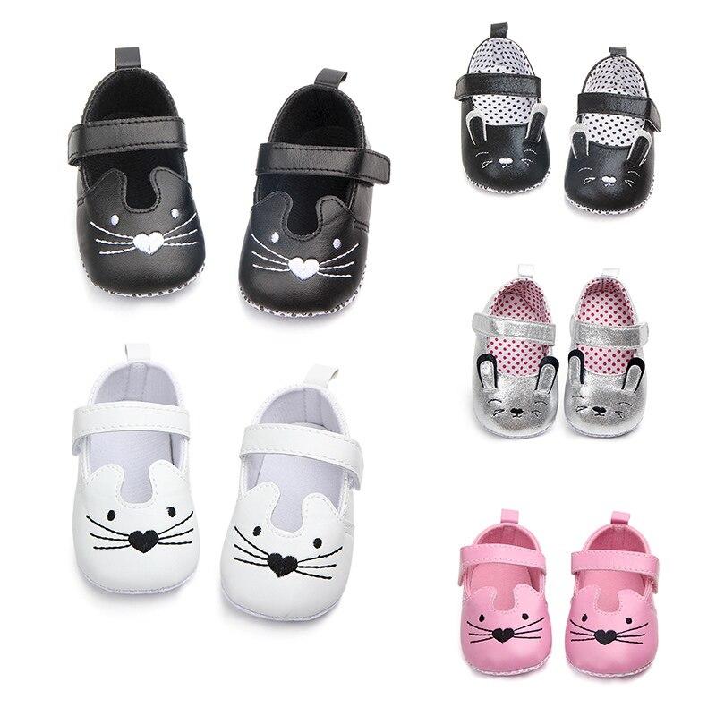 2018 Baby Girl Shoes Newborn Pu Cute Cat Baby Girl Shoes First Walker Spring Baby Girl Shoes Newborn Fashion Cotton