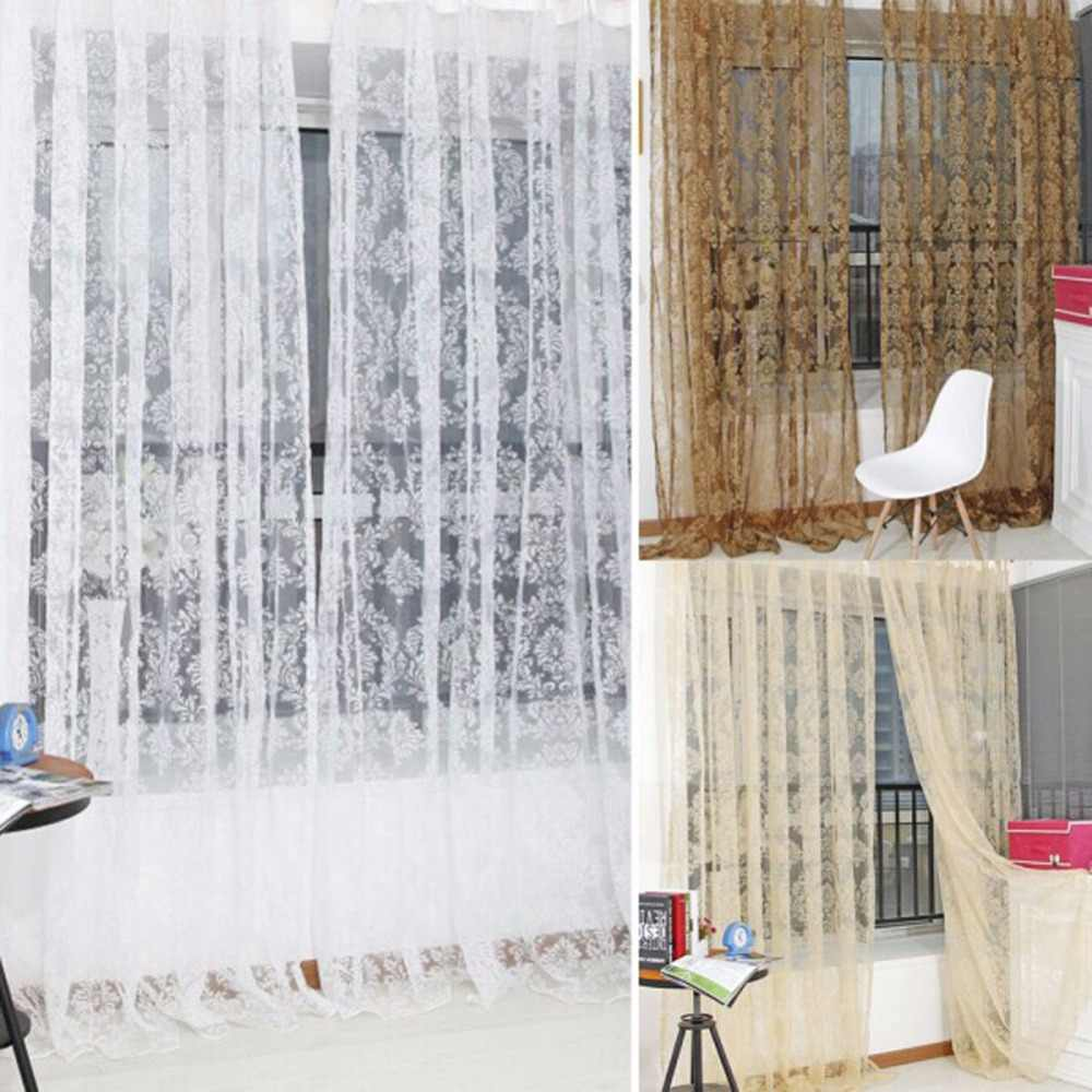 Bronzing Voile Door Window Curtain Balcony Valances Sheer Scarfs Tulle Bathroom Curtains for Living Room