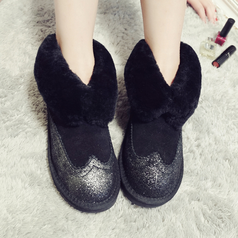 ФОТО Wholesale High Quality Women Classic Mini Snow Boots Genuine sheepskin Warm Winter Shoes real wool women ankle boots