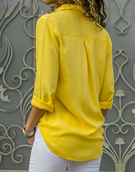 8XL Oversize Women Tops Blouses Autumn Elegant Long Sleeve Solid V-Neck Chiffon Blouse Work Shirts Office Plus Size 7XL Blusas 2