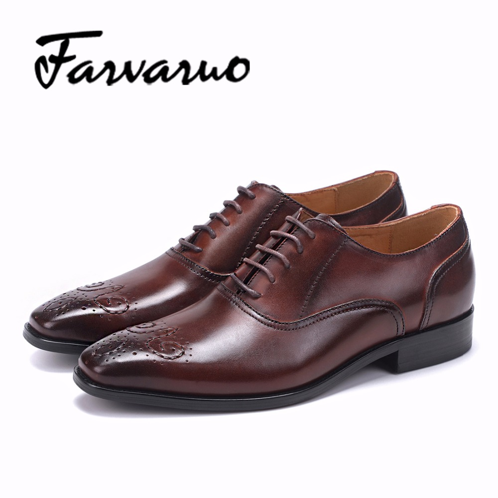 Farvarwo Leather Casual Oxford Business Shoes for Mens Lace-Up Pointed Toe Flats Formal Wedding Dress Shoes Black/Red Men Spring new arrival men casual business wedding formal dress genuine leather shoes pointed toe lace up derby shoe gentleman zapatos male
