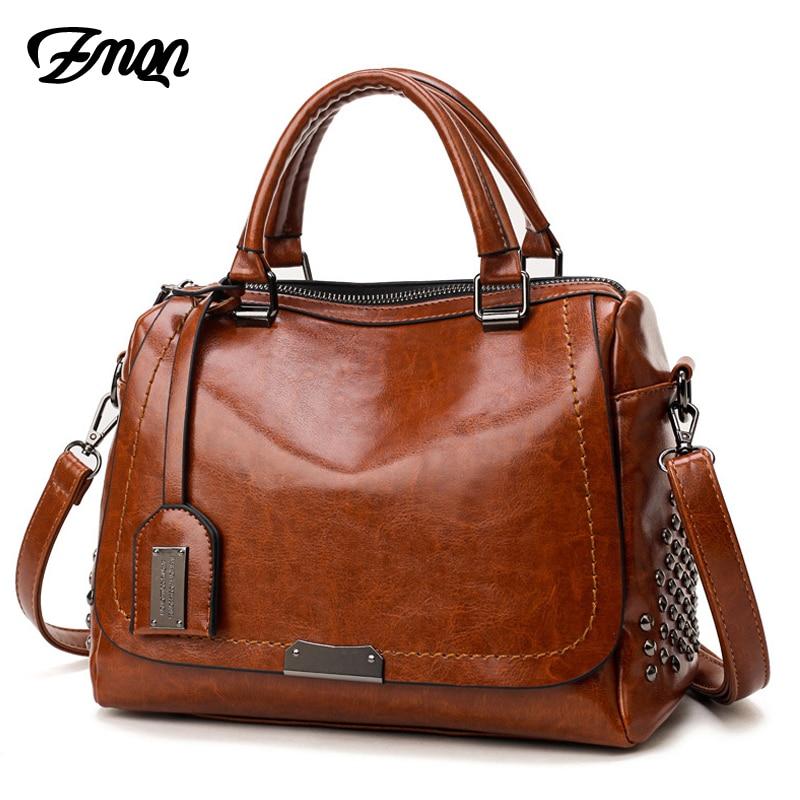 ZMQN Handbags For Shoulder Bags Female Cheap Leather Handbags Famous Brands Rivet Crossbody Bags Kabelka C639