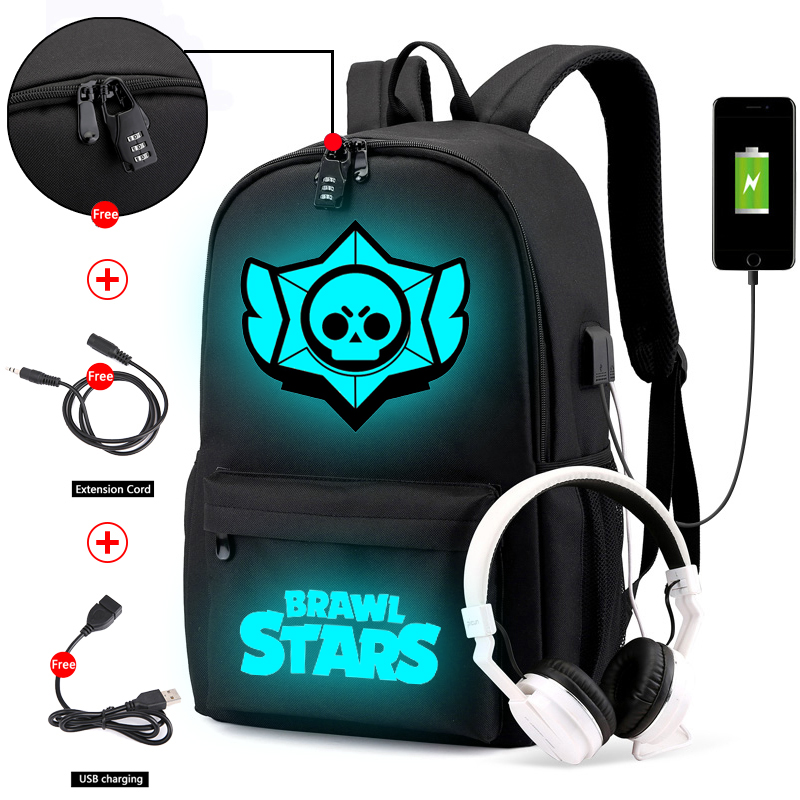 Canvas Luminous Waterproof Brawl Stars Anti-theft Laptop DJ Backpack For Teenager Boys Girls Student School Backpack MenWomenbag